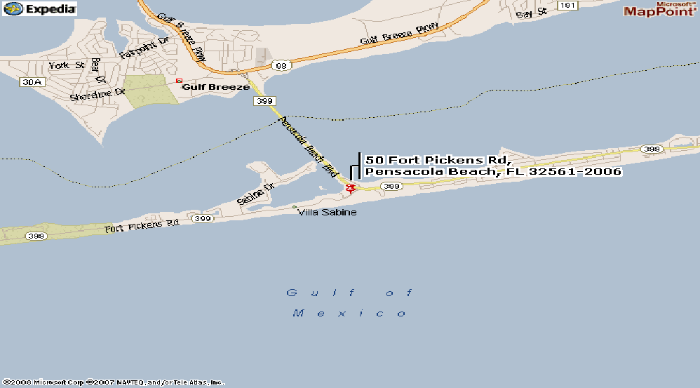 Map of Gulf Breeze and Pensacola